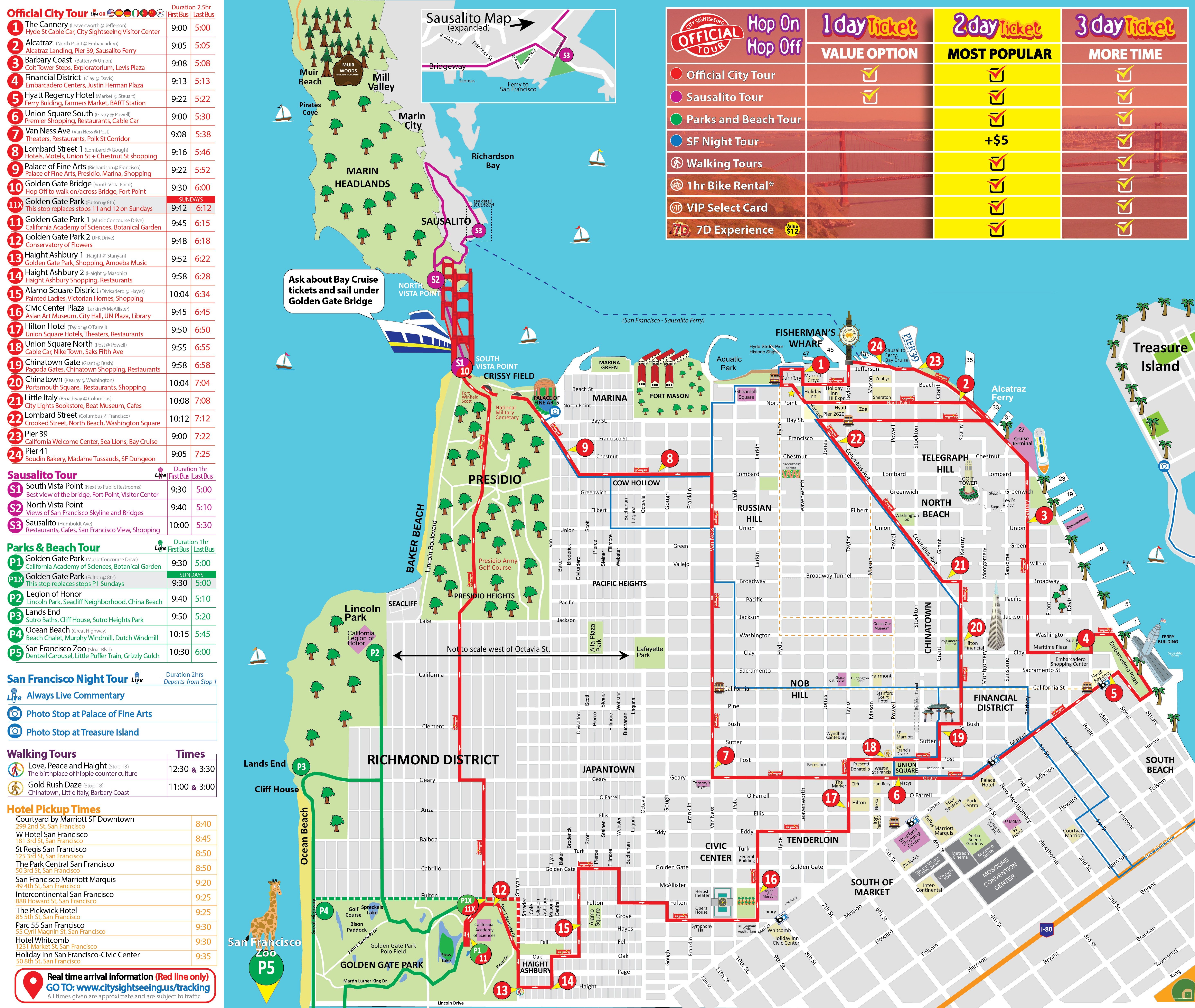 San Francisco Hop On Off Tour Map on