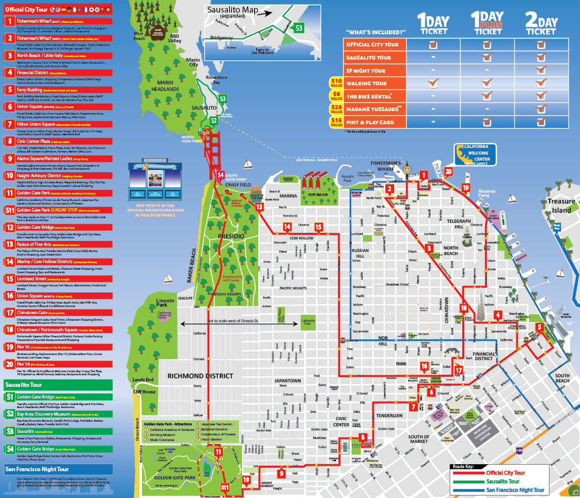 City Sightseeing Hop On Hop Off Bus With Bay Cruise In San